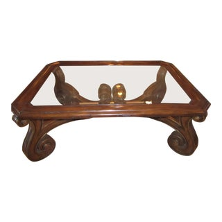 Marge Carson Large Carved Wood & Beveled Glass Top Coffee Table