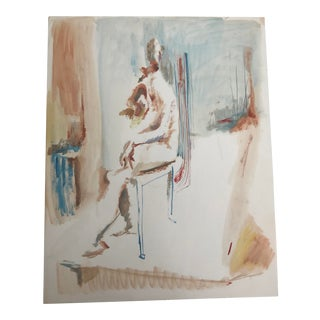 1950s Vintage Robert Colborne Modern Seated Figure Painting For Sale