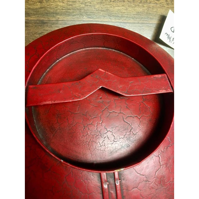 Red Colonial Style Sconce With Concave Mirror For Sale - Image 8 of 10