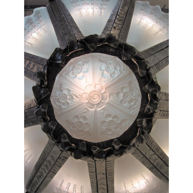 Early 20th Century Massive Verrerie Belge Art Deco Frosted Glass Chandelier, Stamped F. Carion For Sale - Image 5 of 13