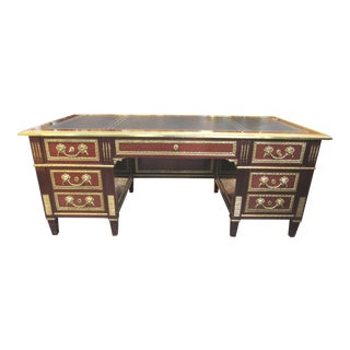 Louis XVI Style Leather Top Mahogany Brass Ormolu Desk For Sale