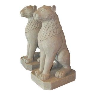 Cast Plaster Faux Cement Lion Lamps- a Pair For Sale