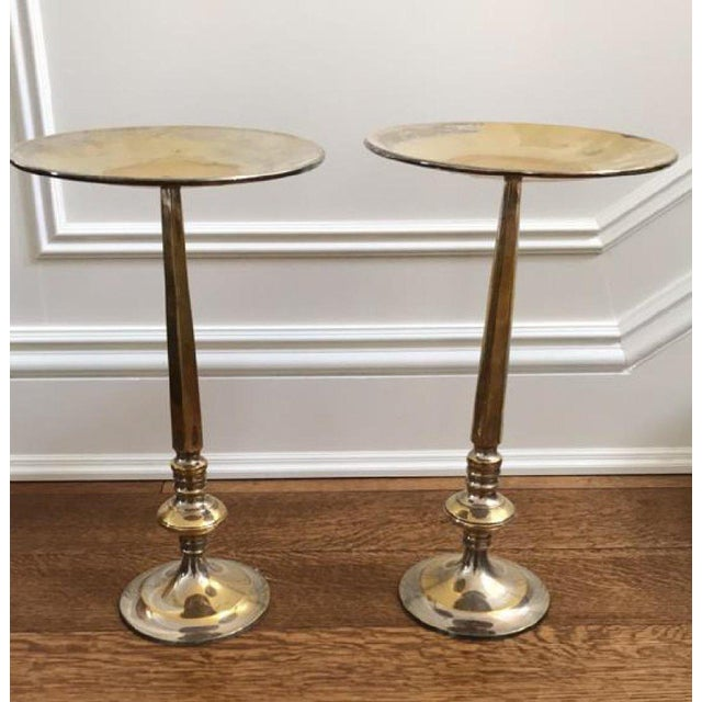 Silver Brass Plated Floor Candlestands - A Pair For Sale - Image 5 of 5