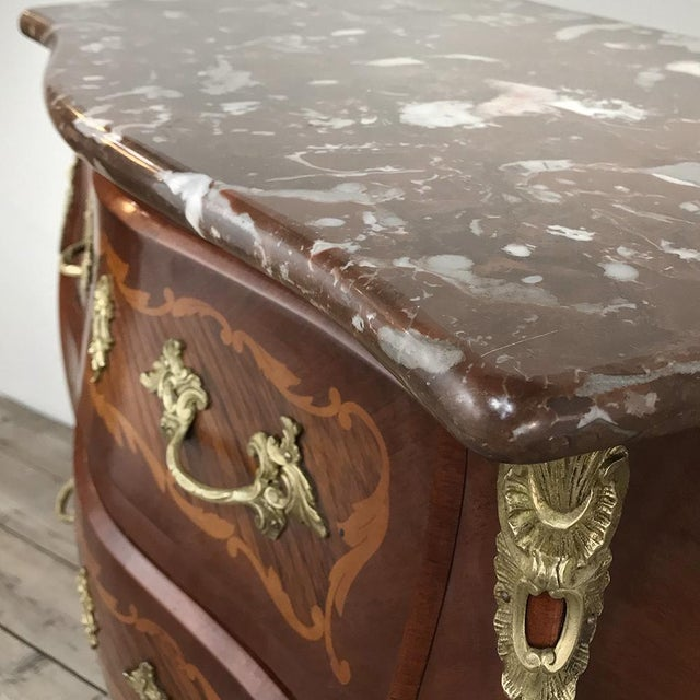 Gold Antique French Louis XV Bombe Marquetry Marble Top Commode For Sale - Image 8 of 13