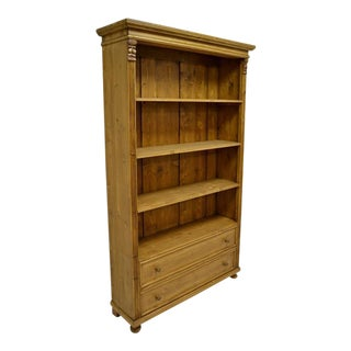 Pine Open Bookcase with Two Drawers