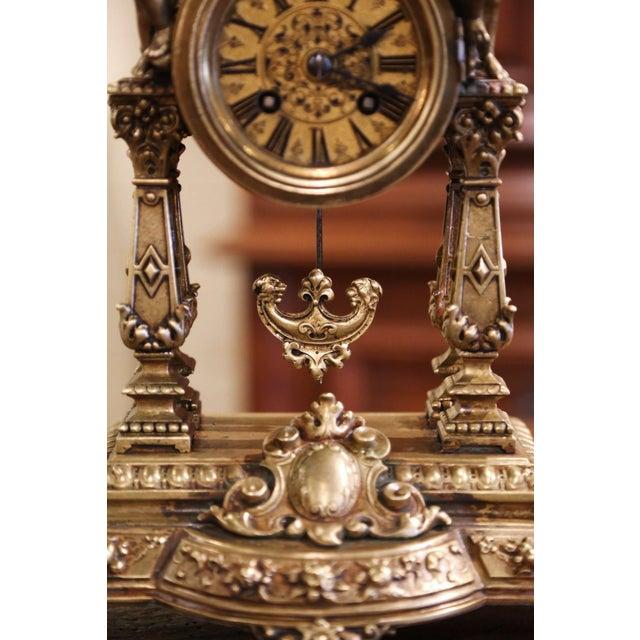 19th Century French Louis XV Rococo Gilt Bronze Mantel Clock With Cherubs For Sale In Dallas - Image 6 of 13