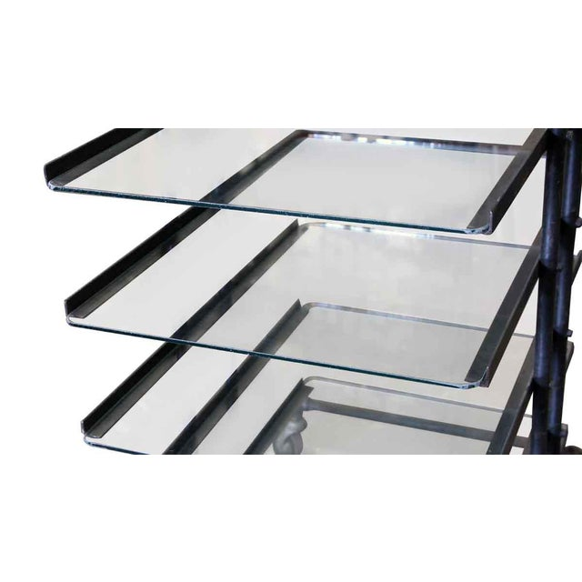 Industrial Eight Glass Black Shelf Storage Unit For Sale - Image 3 of 6