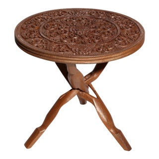 Carved Wood Accent Table For Sale