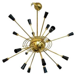 Brass Sputnik Rings of Saturn Chandelier by Stilnovo 1950s For Sale