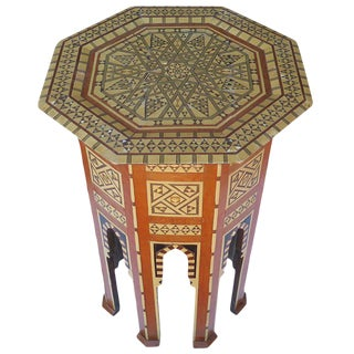 Beautiful 19th Century Mother-Of-Pearl Moroccan Side Table For Sale