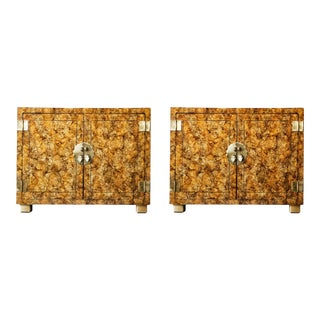 Henredon Faux Tortoise Shell Cabinets (Pair) For Sale