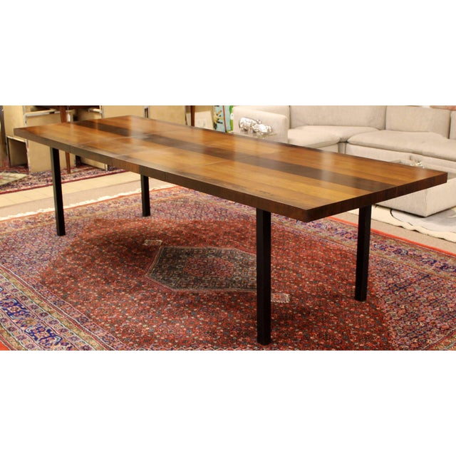 1960s Mid-Century Modern Milo Baughman for Directional Walnut Rosewood Dining Table For Sale - Image 10 of 10
