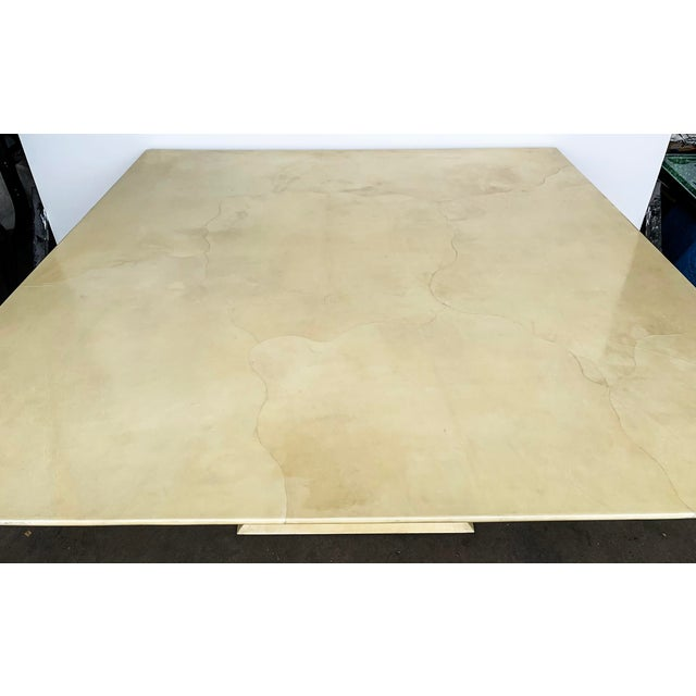 Karl Springer Lacquered Square Goatskin Parchment Dining Table W/ Coa For Sale In Los Angeles - Image 6 of 9