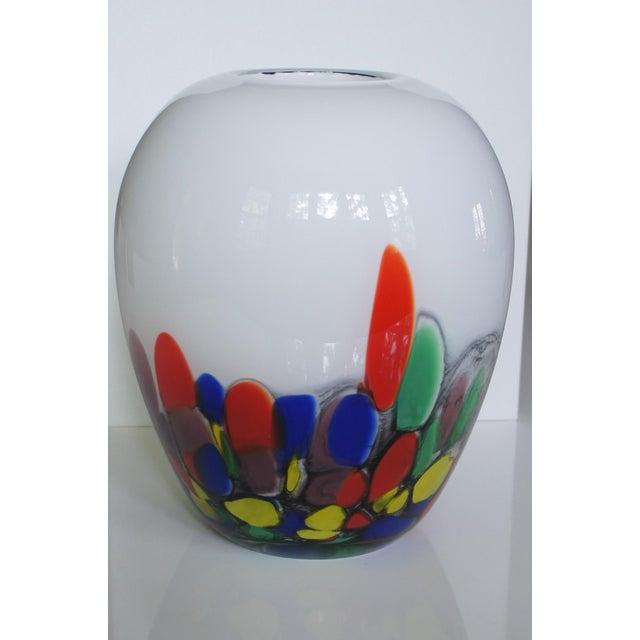 Murano Vintage White & Confetti Pattern Murano Glass Vase For Sale - Image 4 of 8