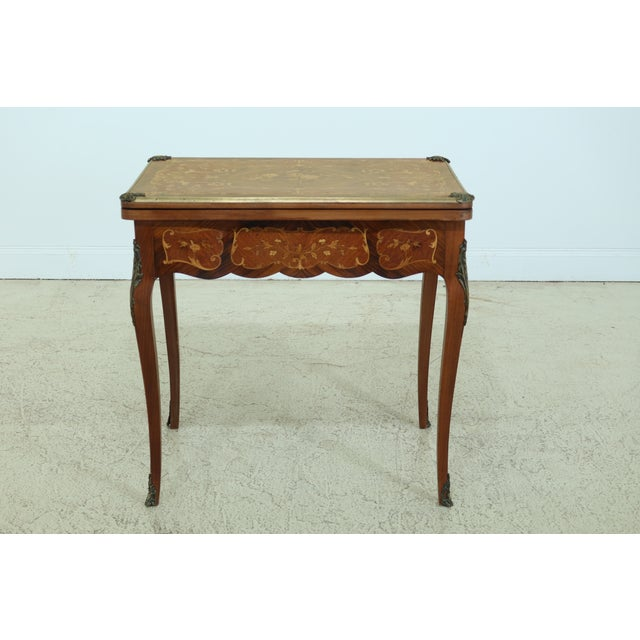 Vintage 1920s Highly Inlaid French Louis XV Games Table For Sale - Image 13 of 13