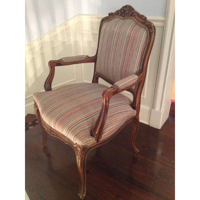 Pair of French Walnut Upholstered Armchairs For Sale In Savannah - Image 6 of 10