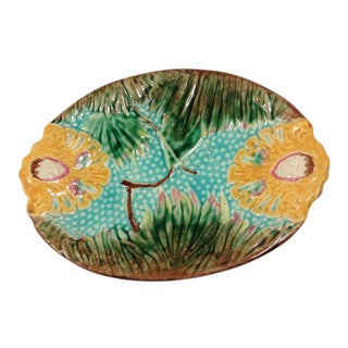 Antique Colorful Majolica Platter For Sale