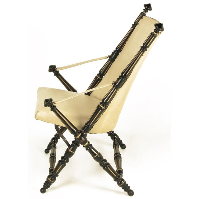 English Style Black Lacquer and Parcel-Gilt Folding Campaign Chair - Image 5 of 9