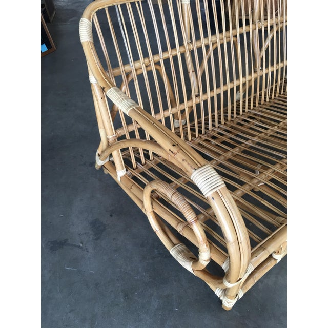 "1950s Restored Two-Strand ""Circles and Speed"" Three Seat Rattan Sofa For Sale - Image 5 of 9"