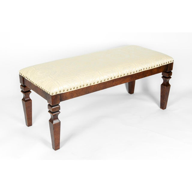 Mahogany Wood Framed Bench For Sale - Image 9 of 13