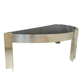 """Mezzaluna"" Polished Steel Desk by Leon Rosen for Pace Collection For Sale"
