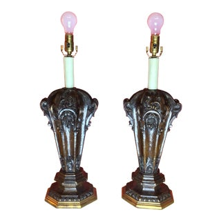 Antique 19th Century Carved Walnut Table Lamps - a Pair For Sale