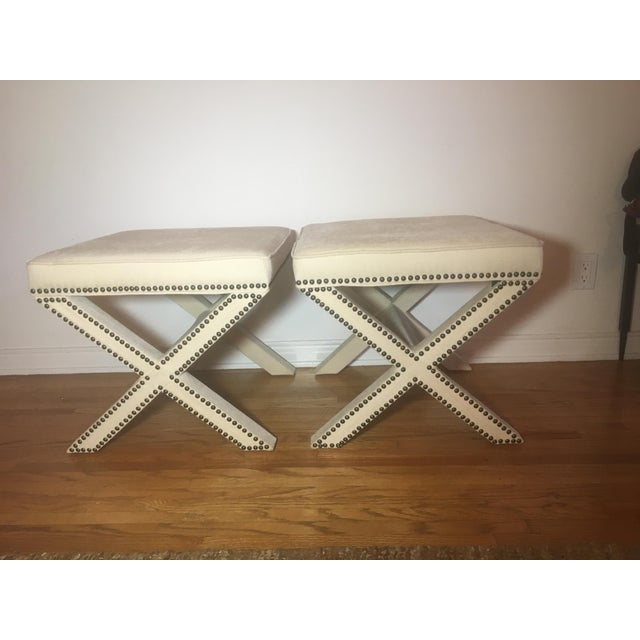 Tan Linen Nailhead X-Bench Ottoman - a Pair For Sale - Image 8 of 8