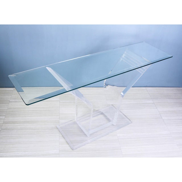 Stunning vintage Lucite console table with glass top This beautiful console design by Lion with a mix a clear & frosted...