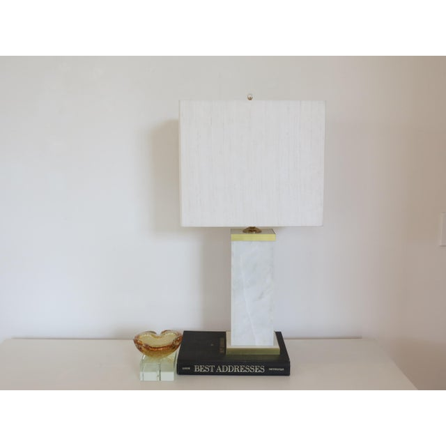 Custom Marble and Brass Lamp by C. Damien Fox - Image 6 of 9