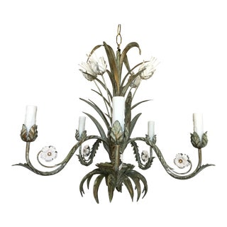 1950s Italian Verdigris Chandelier For Sale