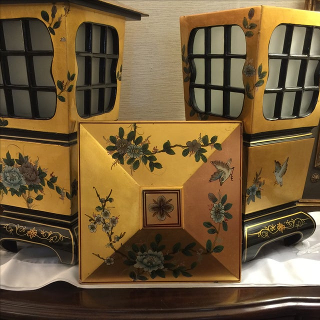 Chinoiserie Gold & Black Lamps - Pair - Image 6 of 6
