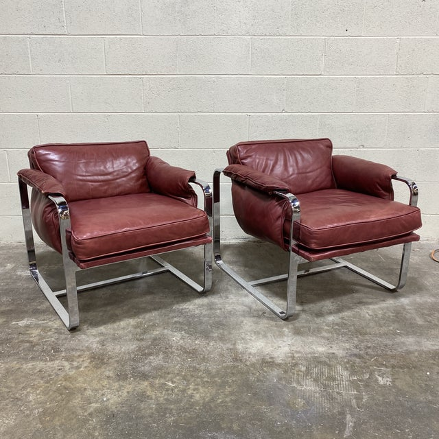 Mid Century Chrome Leather Club Chairs For Sale - Image 12 of 12