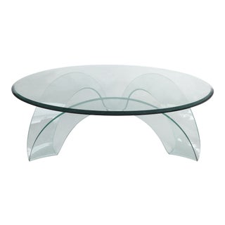 Sculptural Italian Bent Glass Coffee Table by Fiam For Sale