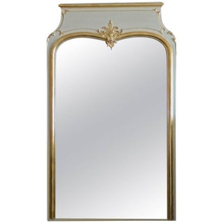 19th Century French Gold-Leaf Gesso and Painted Wood Full Length Trumeau Mirror With Original Aged Glass For Sale