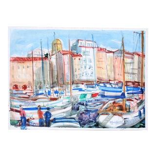 St. Tropez Watercolor by P. Gaillardot, 1950s For Sale