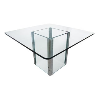 1970's Modern Pace Collection Chrome & Glass Table For Sale