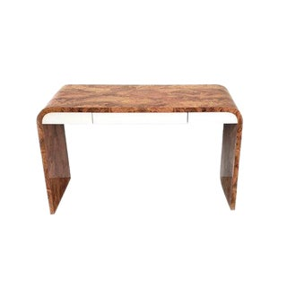 Modern Faux Burl Laminate Waterfall Desk/Console Table For Sale