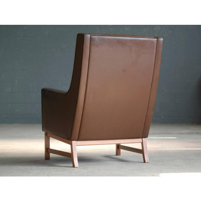 Brown Midcentury Kai Lyngfeldt Larsen Style High Back Lounge Chair in Brown Leather For Sale - Image 8 of 9