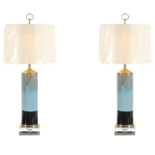 Beautiful Pair of Drip Glaze Ceramic Lamps with Lucite and Brass Accents For Sale