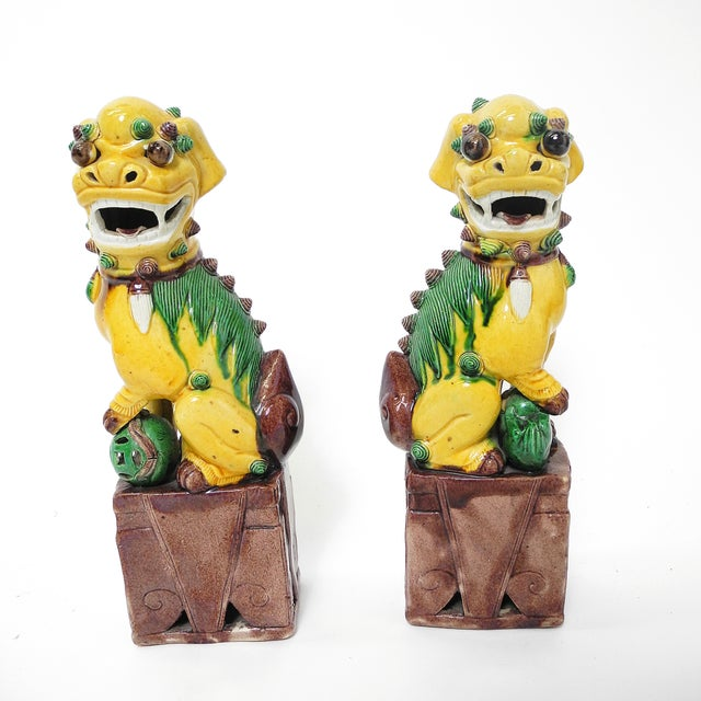 Sancai Chinese Export Foo Dogs - Pair - Image 2 of 7