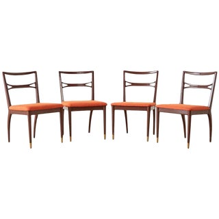 Set of Four Midcentury Lacquered Dining Chairs For Sale