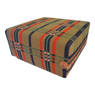 Ottoman, Uphlostered in Vintage Horse Blanket, on Rustic Barn Wood Frame