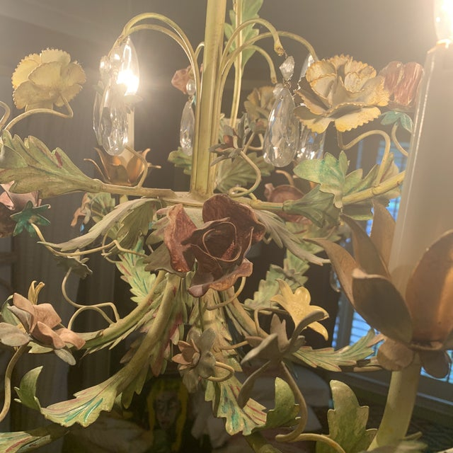Shabby Chic Green Iron Floral Chandelier For Sale - Image 3 of 13