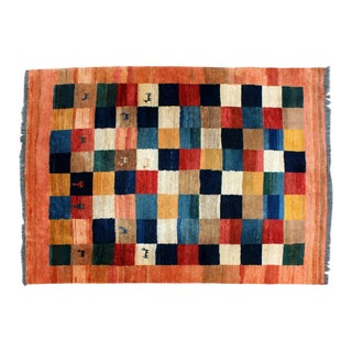 Contemporary 100% Wool Iranian Area Rug Carpet Llama Design Gabbeh Charlotte For Sale
