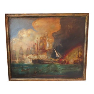 Antique Early 20th Century Maritime Ship Battle Oil Painting on Canvas For Sale