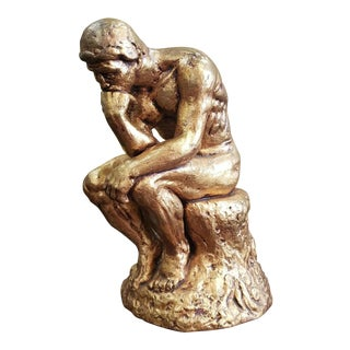 """Mid 20th Century After Auguste Rodin """"The Thinker"""" Gold Chalkware Sculpture For Sale"""