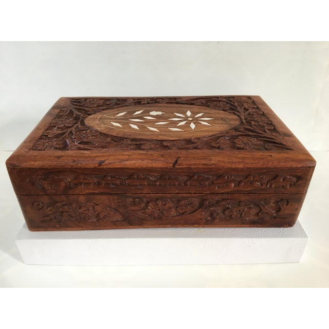 1960s Vintage Hand Carved Wooden Box For Sale - Image 11 of 12