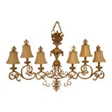 Image of Chelsea House Venetian Decorated Iron 6 Light Island Chandelier For Sale