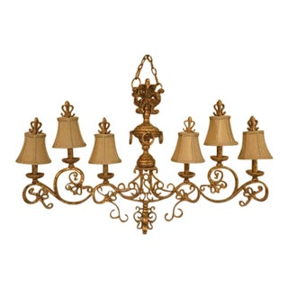 Chelsea House Venetian Decorated Iron 6 Light Island Chandelier For Sale