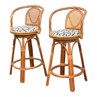 1970s Vintage Rattan Bar Stools - a Pair For Sale